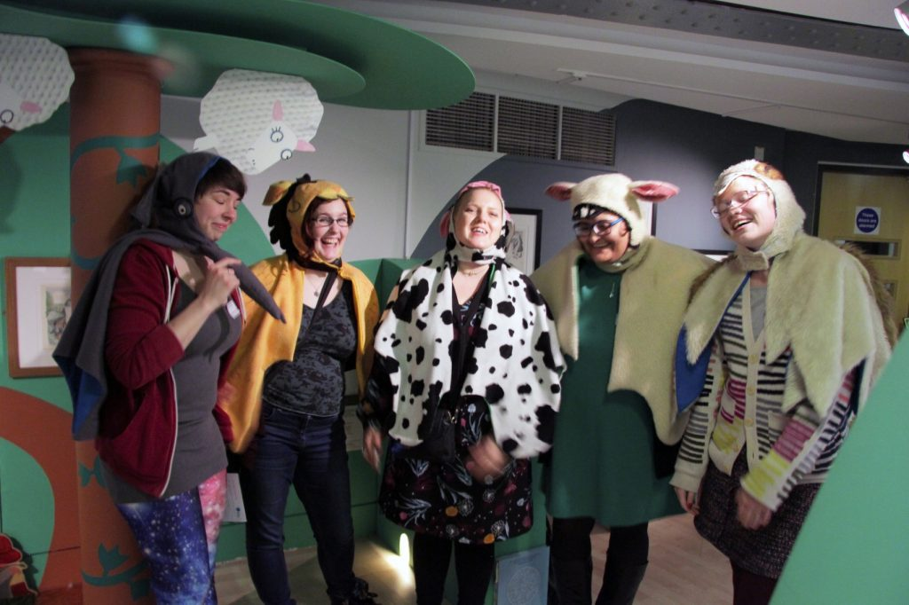 Dressing up in the Rhyme Around the World gallery. Image: Newcastle University
