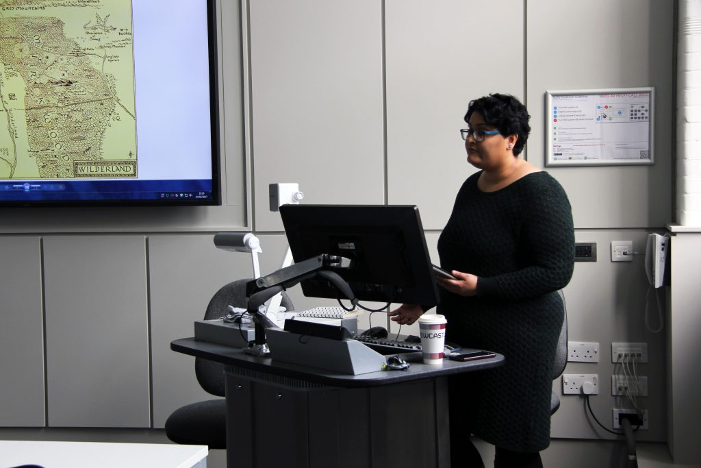 Aishwarya Subramanian gives a presentation at a meeting of the Children's Literature Graduate Group. Image: Newcastle University