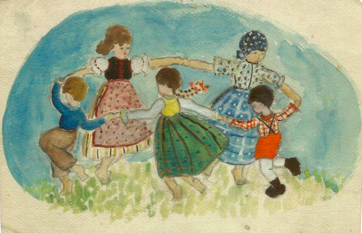 One of Judith Kerr's watercolours made as a child, included in her memoir Creatures (2013). You can view the original at Seven Stories.