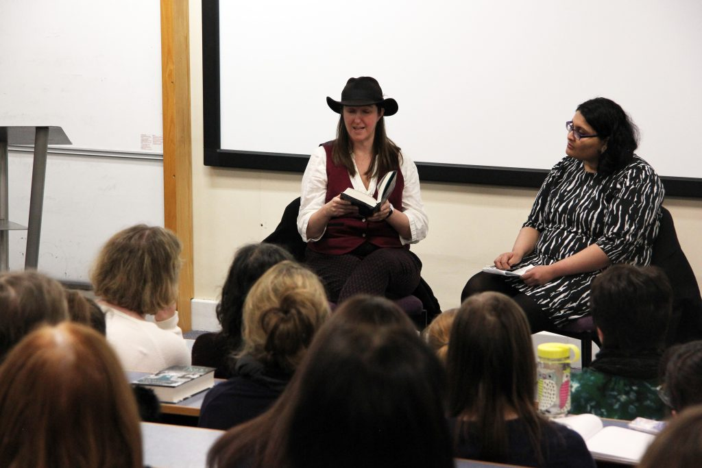Frances Hardinge reads from her novel, The Lie Tree, with Aishwarya Subramanian. Image: Newcastle University