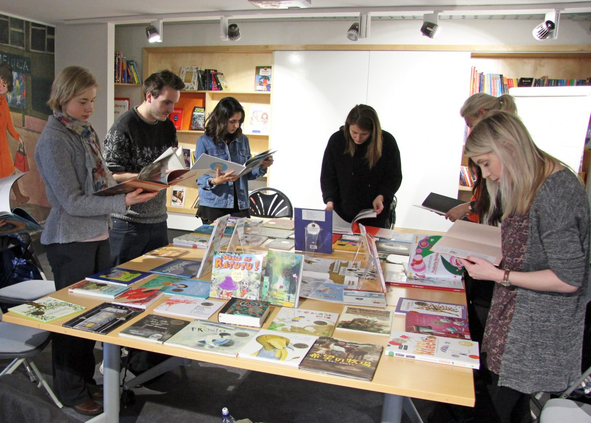 The MA in Creative Writing students explore the IBBY Honour Collection. Image: Newcastle University