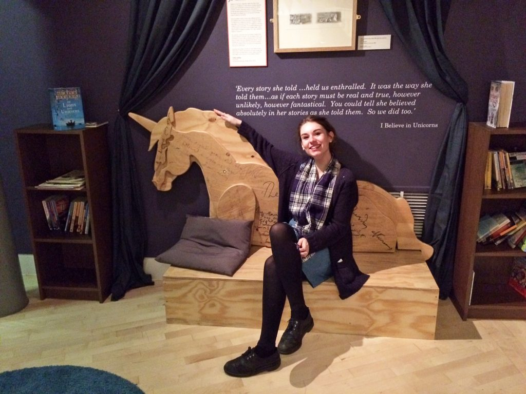 Katy and the unicorn in the Michael Morpurgo: A Lifetime in Stories gallery. Image taken by Akiba.