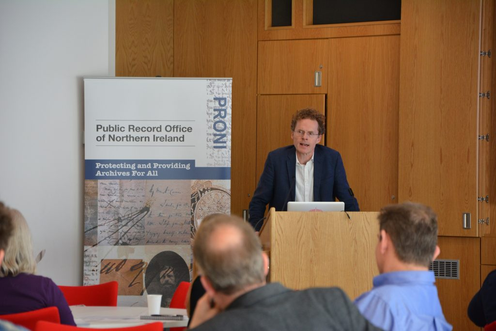 Newcastle University's Professor Mike Rossington addresses the Northern Bridge Ecologies of Knowledge seminar. Image courtesy of the Public Record Office of Northern Ireland.