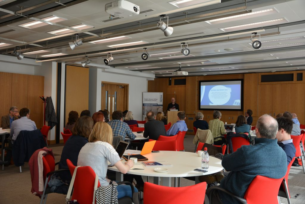 Dave Camlin (Sage Gateshead) opens the seminar. Image courtesy of the Public Record Office of Northern Ireland.