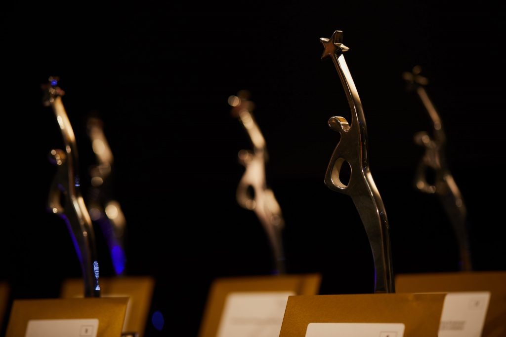 The Times Higher Education Leadership and Management Award trophies. Image: Times Higher Education