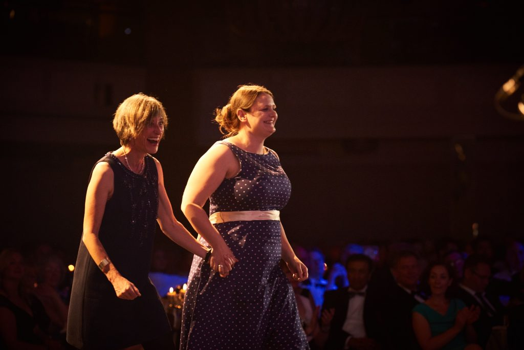 Kate Edwards and Dr Lucy Pearson collected the award. Image: Times Higher Education