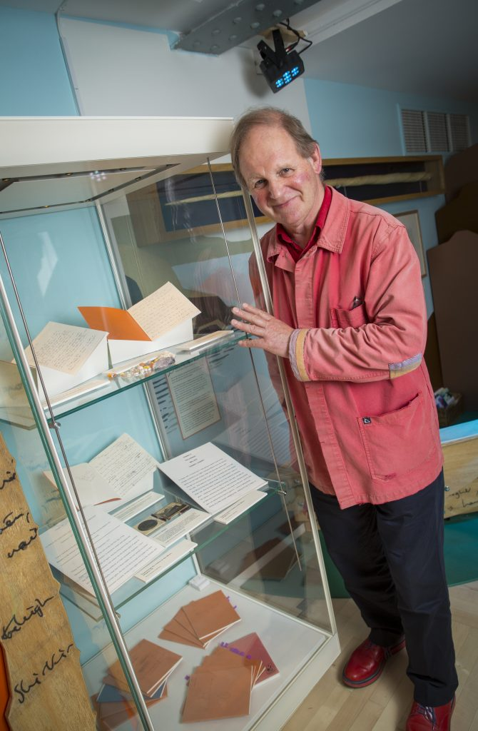 Michael Morpurgo, with items from his archive, at Seven Stories. Image: Seven Stories, The National Centre for Children's Books, photography by Richard Kenworthy