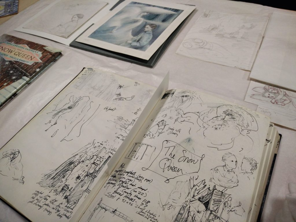 Notebooks, draft and completed artwork for Angela Barrett's The Snow Queen from the Seven Stories Collection. Image: Newcastle University