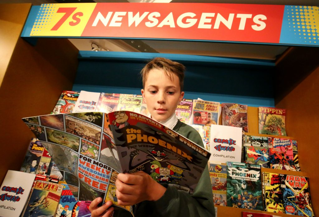 Samantha created facsimiles of older comics for the 7S Newsagents for the Comics exhibition. Image: Seven Stories, The National Centre for Children's Books, photography by Paul Norris