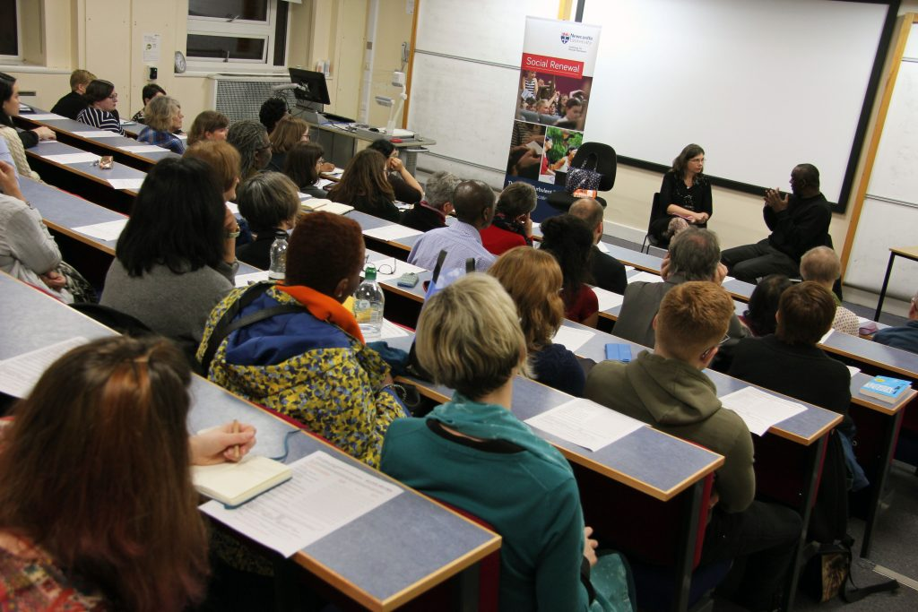 Alex Wheatle MBE in conversation with Professor Karen Sands O'Connor at the Into Crongton with Alex Wheatle event.