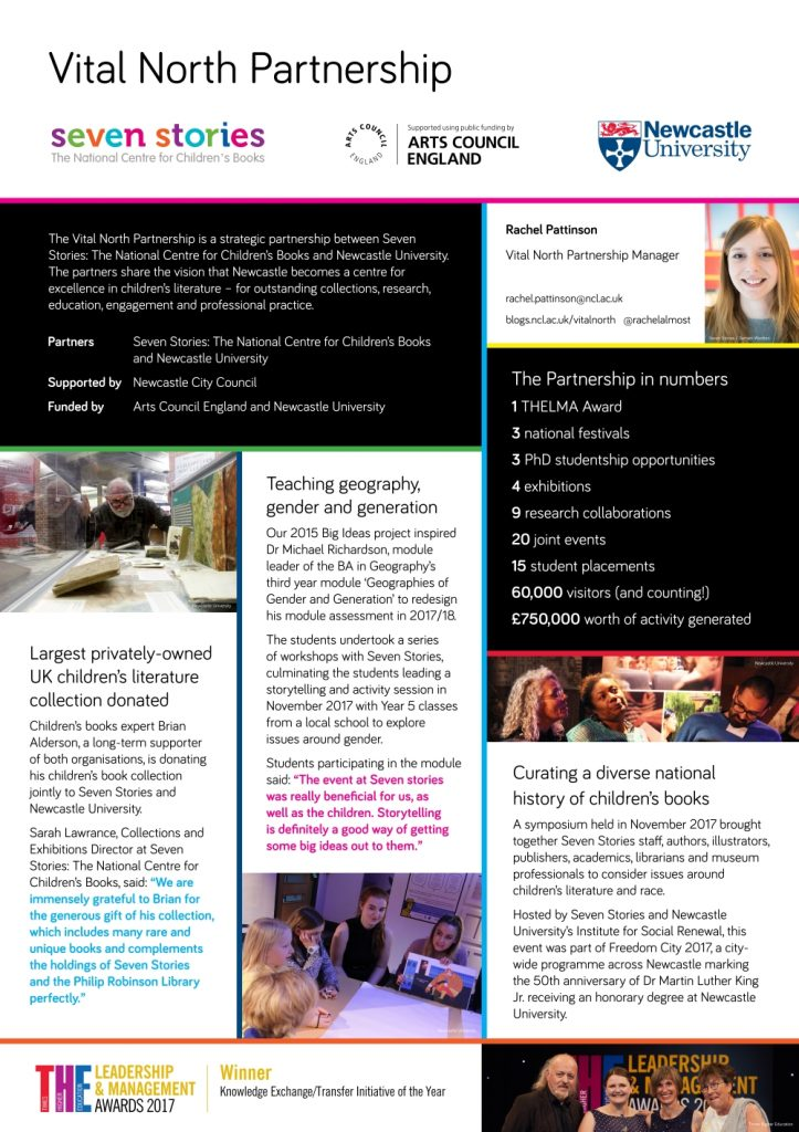The Vital North Partnership poster, which was presented at the NCCPE Engage 2017 poster party. Image: Newcastle University and Seven Stories: The National Centre for Children's Books