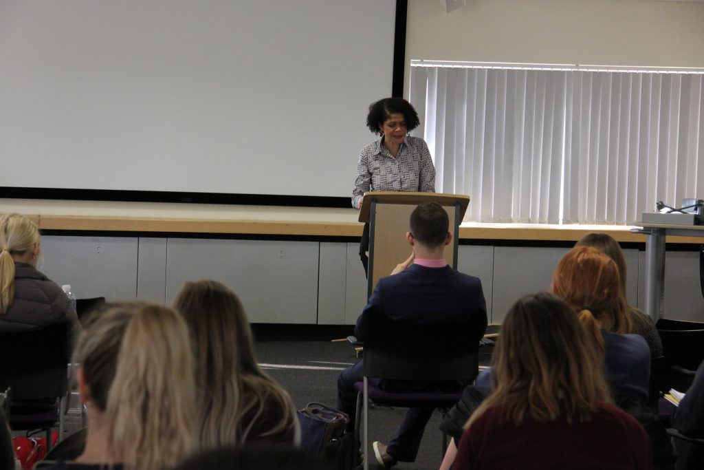 Chi Onwurah MP spoke to the students about gender in the workplace. Image: Newcastle University