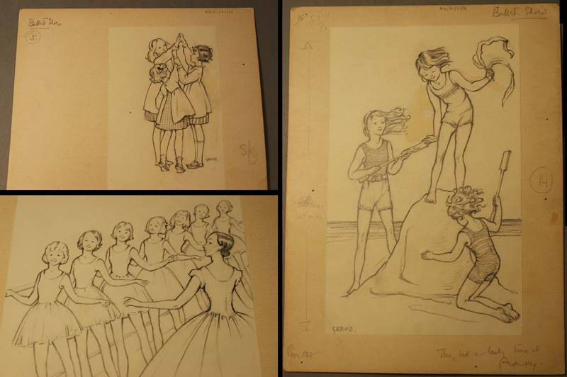 Ruth Gervis, RG/01/01/03,13,31. Selection of finished pencil drawings for Ballet Shoes, circa 1936. © Estate of Ruth Gervis
