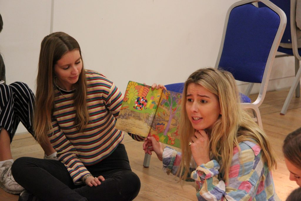 Lucy uses her storytelling skills as part of a workshop with Marine Park Primary School. Image: Newcastle University