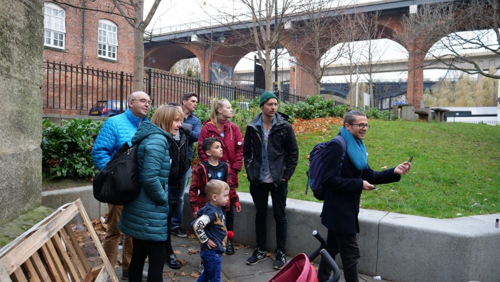 Dr Tom Schofield leads an event in the Ouseburn Valley as part of the Being Human Festival 2018. Image: Newcastle University