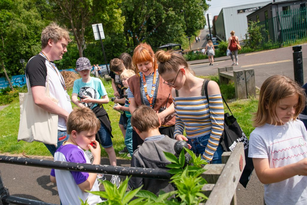 Sense Explorers explore the Ouseburn Valley. Image: Seven Stories: The National Centre for Children's Books, photography by Richard Kenworthy