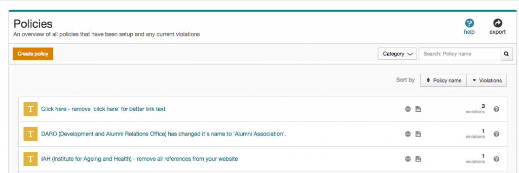 Policies list in Siteimprove Web Governance Software