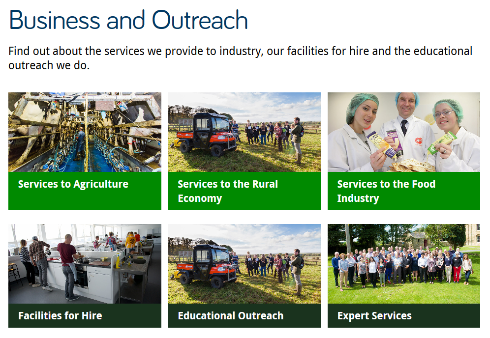 Screenshot of the Business and Outreach section opener on the AFRD website