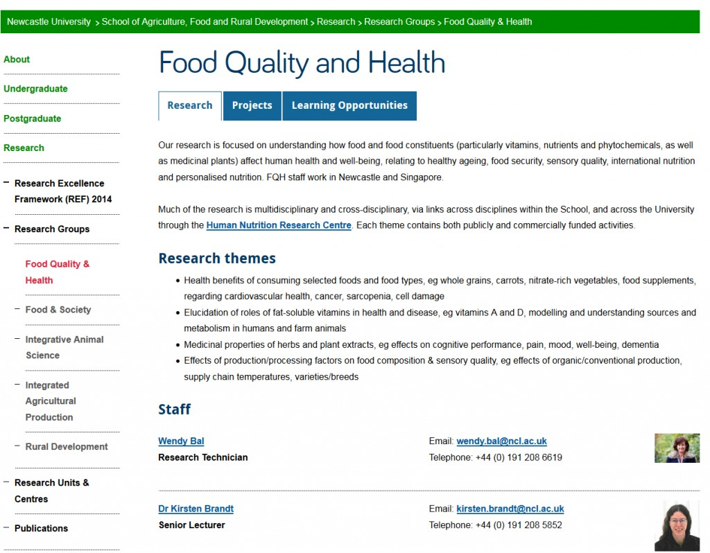 Screenshot of tabbed research group page on new Agriculture, Food and Rural Development website