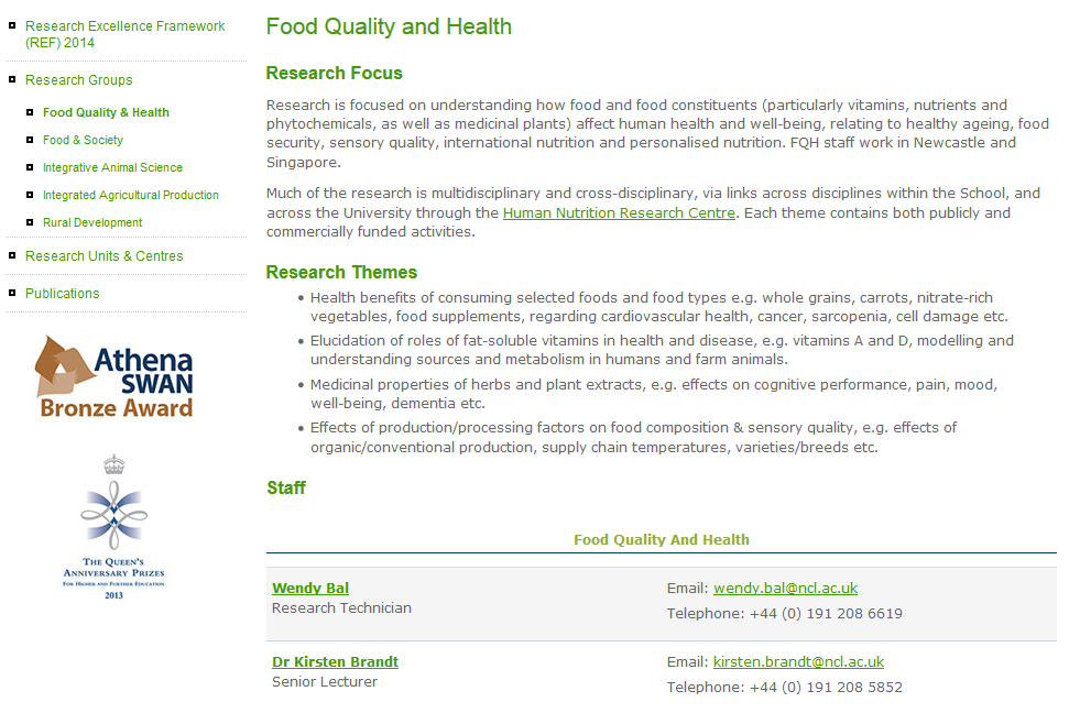 Screenshot of cropped research group page on old Agriculture, Food and Rural Development website