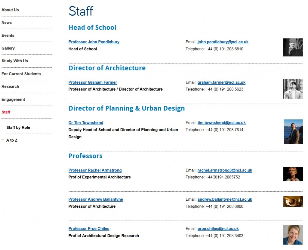Screenshot of staff list on new Architecture, Planning and Landscape website