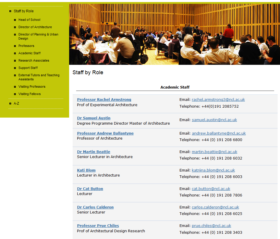Screenshot of staff list on old Architecture, Planning and Landscape website