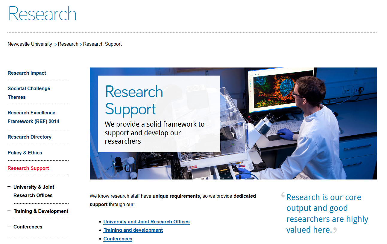 Screenshot of new Research Support page on desktop.