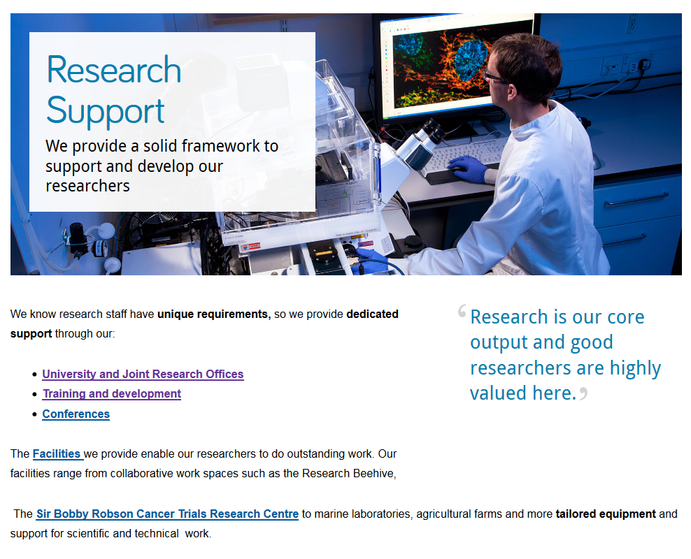Screenshot of Research Support section opener with masthead
