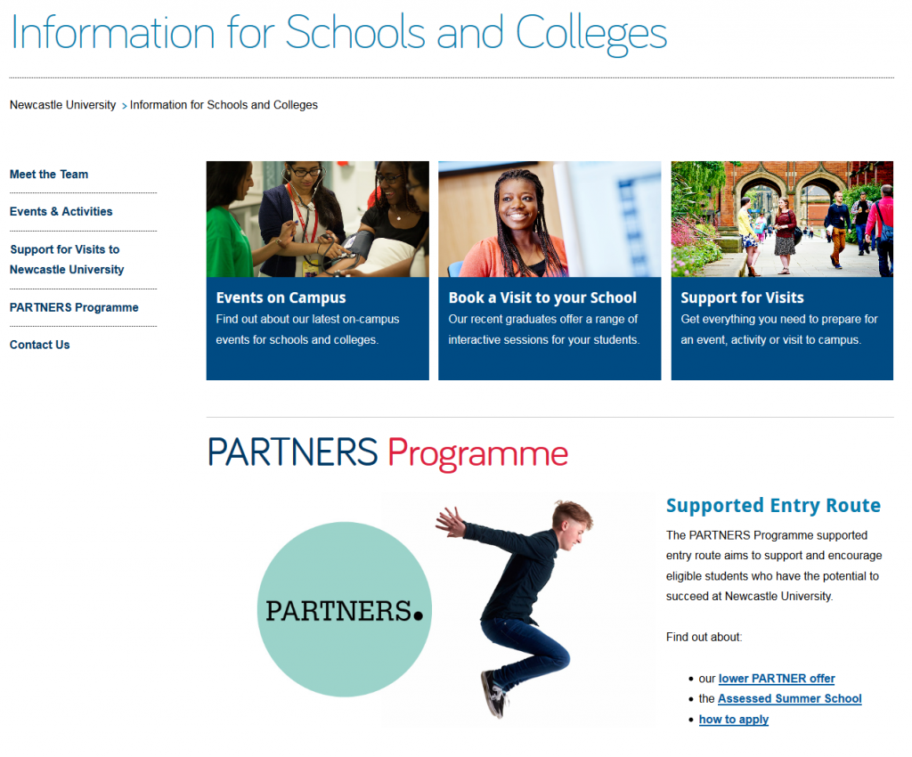 Screenshot of the Information for Schools and Colleges homepage