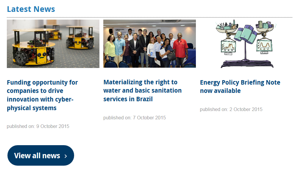 Screenshot of homepage news grid on the new Institute of Sustainability website