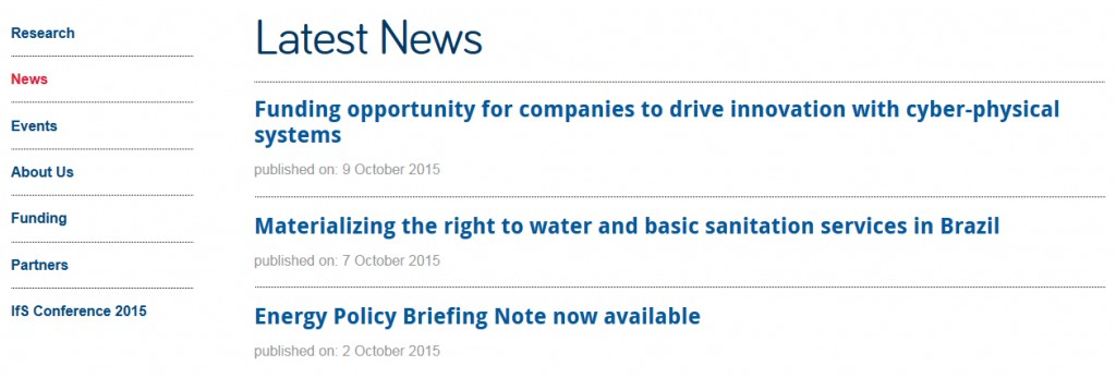 Screenshot of latest news page on the new Institute of Sustainability website