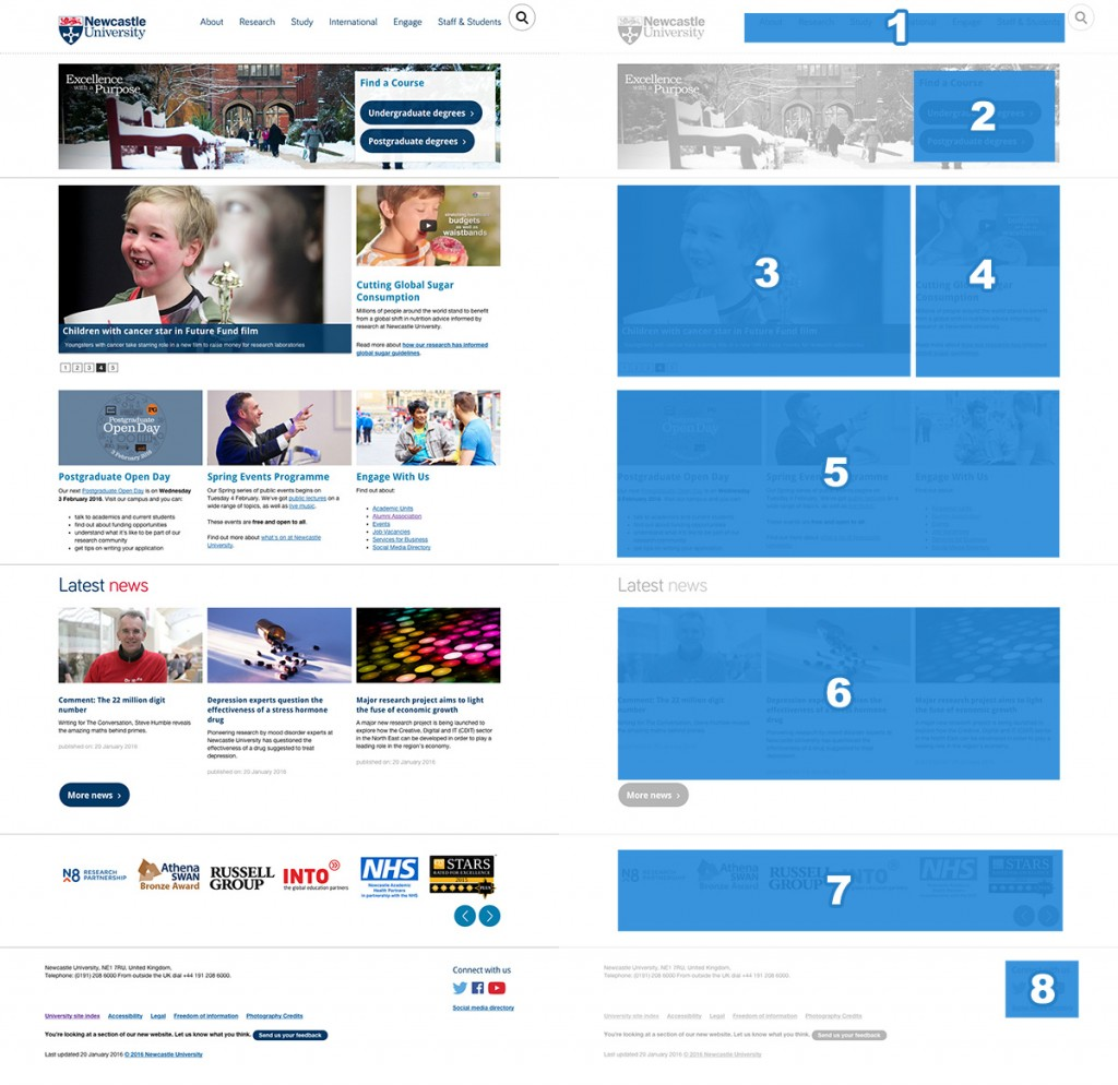 Newcastle University homepage features and layout