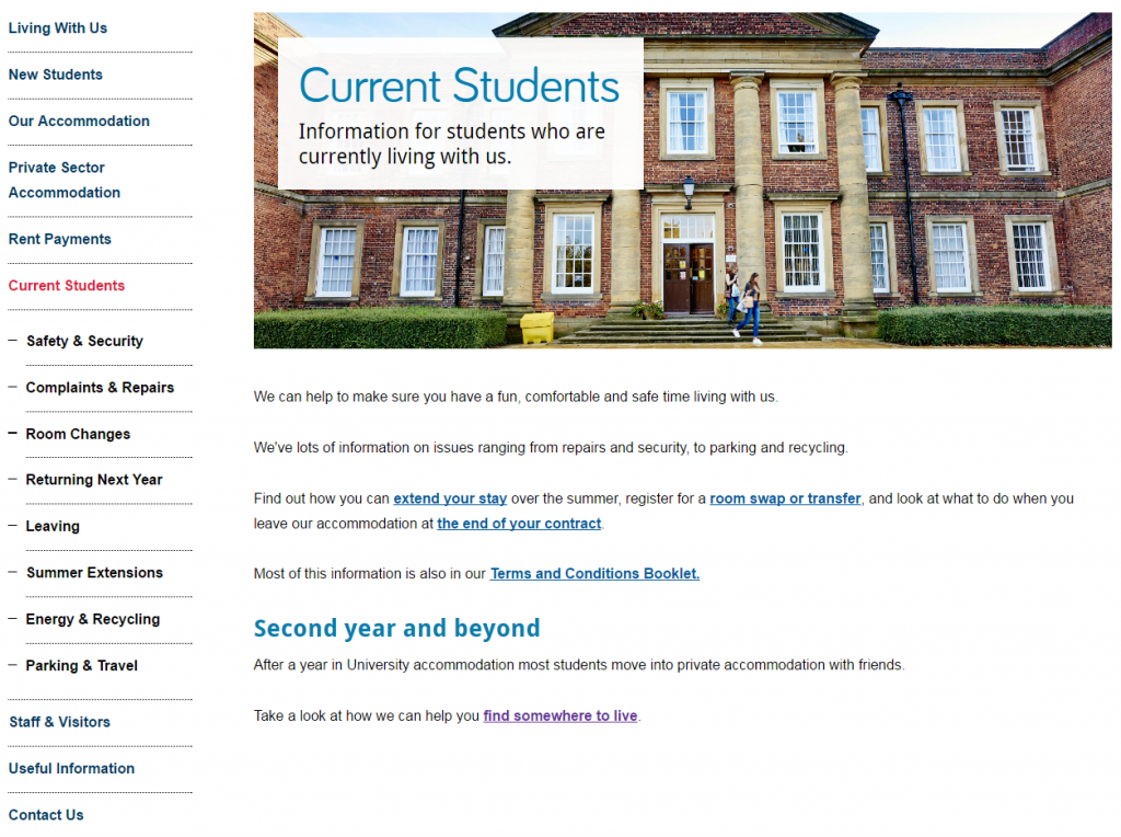 masthead on the Accommodation website