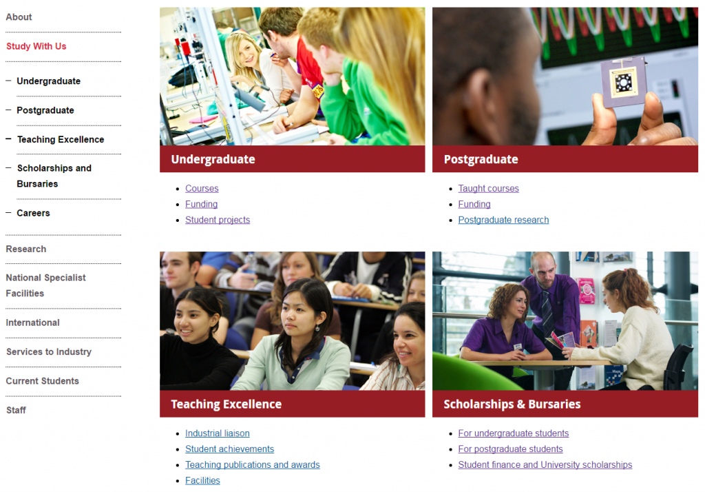 boxes on the Study with Us section of the Mechanical Engineering website