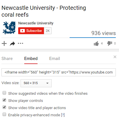 Screenshot of embed code for a video on YouTube