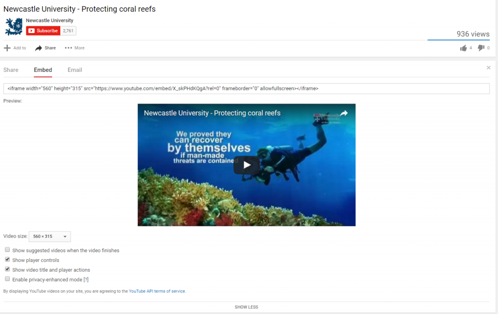 Screenshot of protecting coral reefs video on YouTube