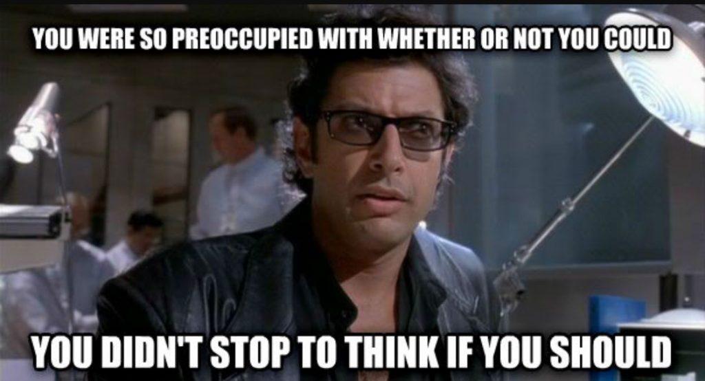 Jeff Goldblum as Ian Malcom in Jurassic Park.