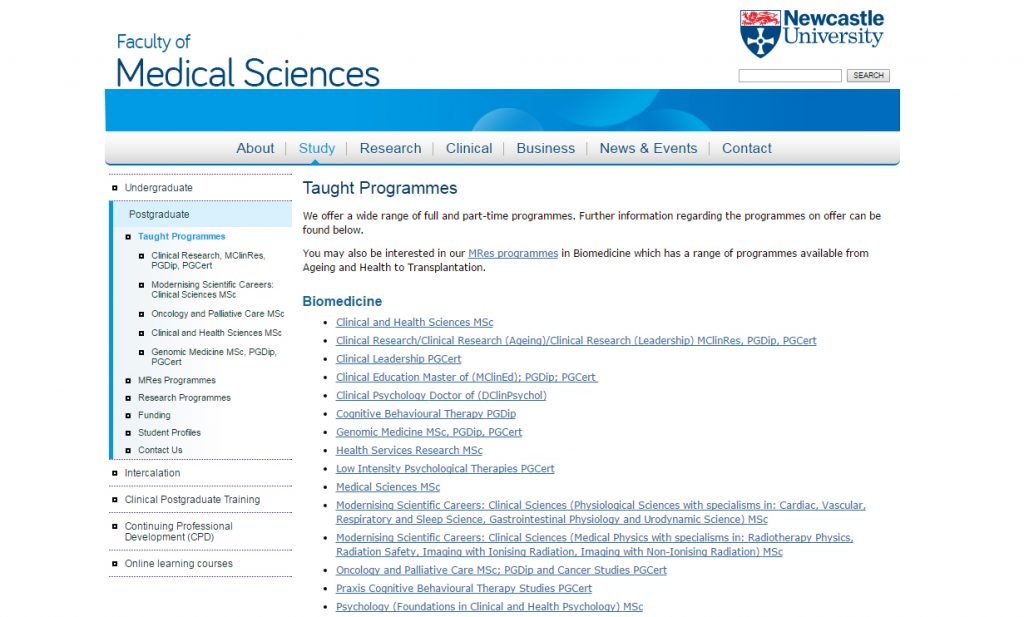 An example of bad information architecture, from the Faculty of Medical Sciences website.