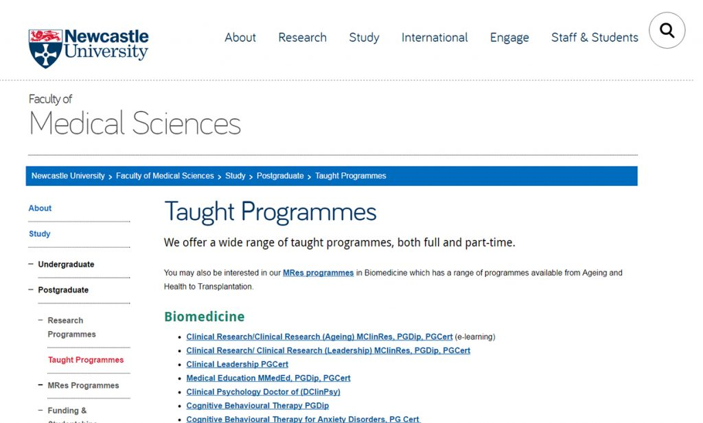 An example of good information architecture, from the Faculty of Medical Sciences website.